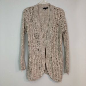 AEO Classic Cardigan Sweater Tan Eyelet Open Front